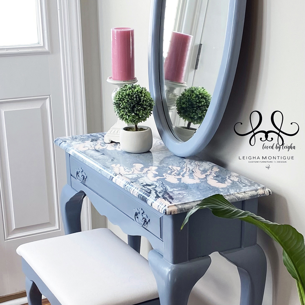 Bombay Vanity, Stool and Mirror with a pink and blue paint pour.