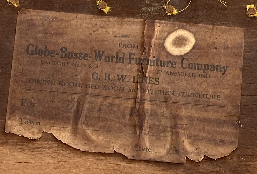 Globe-Bosse-World Furniture Company in Evansville, Indiana - Factory 3 & 4. G.B. W. Lines - Antique World Bosse Chairs